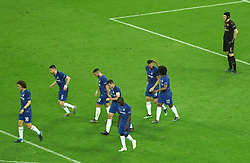 Chelsea's Eden Hazard (centre) celebrates his sides fourth goal of the game with team mates as Arsenal goalkeeper Petr Cech (right) looks on during the UEFA Europa League final at The Olympic Stadium, Baku, Azerbaijan.