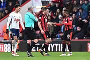 Substitute Jermain Defoe (18) of AFC Bournemouth hands a piece of paper to Dan Gosling (4) of AFC Bournemouth during the Premier League match between Bournemouth and Tottenham Hotspur at the Vitality Stadium, Bournemouth, England on 11 March 2018. Picture by Graham Hunt.