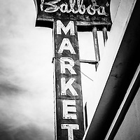 Balboa Market sign Orange County California photo in black and white. The store was built in 1938 and served as a grocery store for the small community of Balboa California. Balboa Market was torn down in October 2010 and the land is now used for a parking lot. Newport Beach is a wealthy beach community along the Pacific Ocean in Orange County Southern California.