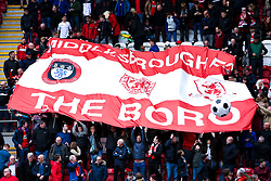 Middlesbrough fans pass a giant flag around before kick off - Mandatory by-line: Ryan Crockett/JMP - 05/05/2019 - FOOTBALL - Aesseal New York Stadium - Rotherham, England - Rotherham United v Middlesbrough - Sky Bet Championship
