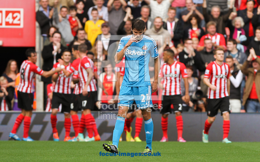 Santiago Vergini of Sunderland reacts to his side going 3-0 down during the Barclays Premier League match at the St Mary's Stadium, Southampton<br /> Picture by Tom Smith/Focus Images Ltd 07545141164<br /> 18/10/2014