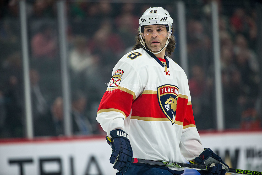 aDec 13, 2016; Saint Paul, MN, USA; Florida Panthers forward Jaromir Jagr (68) against the Minnesota Wild at Xcel Energy Center. The Wild defeated the Panthers 5-1. Mandatory Credit: Brace Hemmelgarn-USA TODAY Sports
