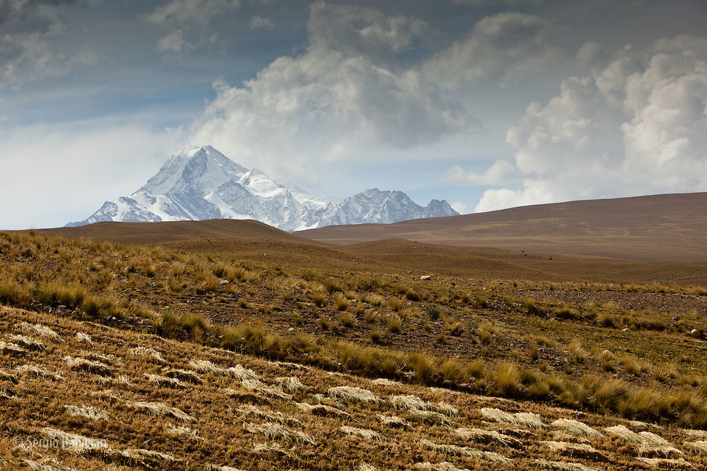 Mt. Huayna Potosi  lies at the southern end of the Cordillera Real near La Paz, Bolivia.