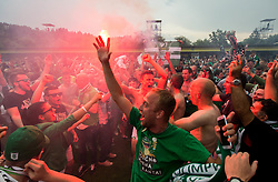 Filip Uremovic of NK Olimpija, Tomislav Tomic of NK Olimpija celebrate after they became Slovenian National Champion 2018 after the football match between NK Domzale and NK Olimpija Ljubljana in 36th Round of Prva liga Telekom Slovenije 2017/18, on May 27, 2018 in Sports park Domzale, Domzale, Slovenia. Photo by Vid Ponikvar / Sportida