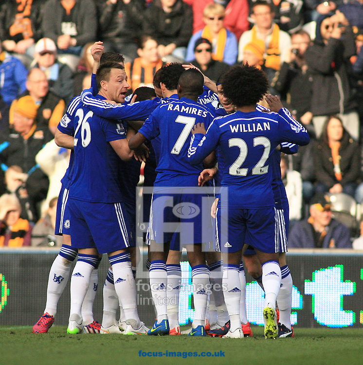 Eden Hazard (centre) of Chelsea celebrates his goal with his team mates the games first goal  during the Barclays Premier League match at KC Stadium, Hull<br /> Picture by Richard Gould/Focus Images Ltd +44 7855 403186<br /> 22/03/2015