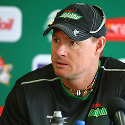 Durban South Africa - November 25:  Head Coach – Lance Klusener of the Sunfoil Dolphins during the Sunfoil Dolphins RAM Slam T20 Challenge media opportunity, November 25 th,Sahara Stadium Kingsmead (Photo by Steve Haag) images for social media must have consent from Steve Haag