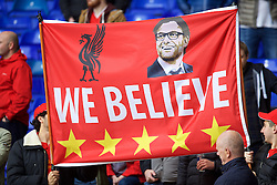 LONDON, ENGLAND - Saturday, October 17, 2015: Liverpool supporters banner for manager Jürgen Klopp 'We Believe' before the Premier League match against Tottenham Hotspur at White Hart Lane. (Pic by David Rawcliffe/Kloppaganda)