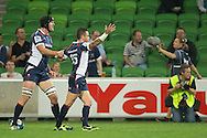 Cadeyrn Neville (Rebels) and Richard Kingi (Rebels) can't believe their try was disallowed during the Round 9 match of the 2013 Super Rugby Championship between RaboDirect Rebels vs Southern Kings at AAMI Park, Melbourne, Victoria, Australia. 13/04/0213. Photo By Lucas Wroe