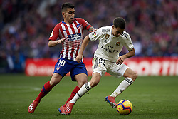 February 9, 2019 - Madrid, Madrid, Spain - Sergio Reguilon of Real Madrid controls the ball front Angel Correa of Atletico Madrid during the week 23 of La Liga between Atletico Madrid and Real Madrid at Wanda Metropolitano stadium on February 09 2019, in Madrid, Spain. (Credit Image: © Jose Breton/NurPhoto via ZUMA Press)