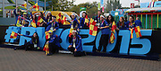 Volunteers posing with the Rugby World Cup sign during the Rugby World Cup Pool A match between England and Australia at Twickenham, Richmond, United Kingdom on 3 October 2015. Photo by Matthew Redman.