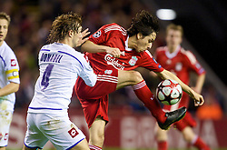 LIVERPOOL, ENGLAND - Wednesday, December 9, 2009: Liverpool's Yossi Benayoun and AFC Fiorentina's Marco Donadel during the UEFA Champions League Group E match at Anfield. (Photo by David Rawcliffe/Propaganda)