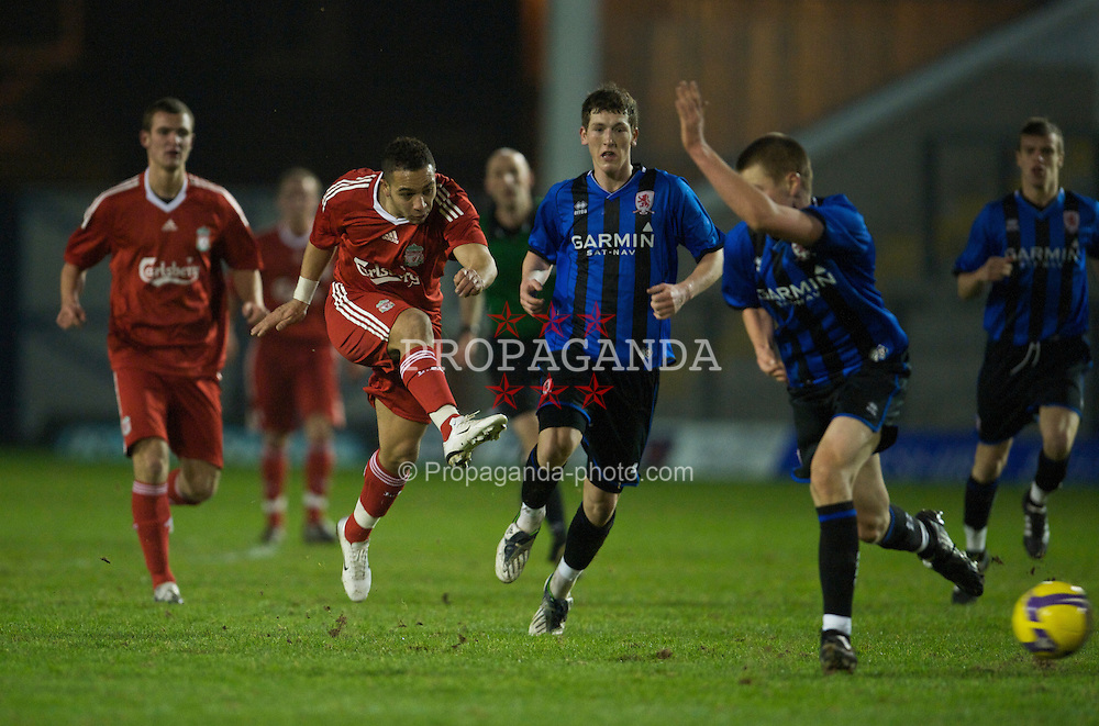 WARRINGTON, ENGLAND - Tuesday, January 20, 2009: Liverpool's Nabil El Zhar in action against Middlesbrough during the FA Premiership Reserves League (Northern Division) match at the Halliwell Jones Stadium. (Mandatory credit: David Rawcliffe/Propaganda)