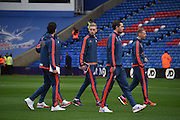 Swansea look relaxed ahead of the Barclays Premier League match between Crystal Palace and Swansea City at Selhurst Park, London, England on 28 December 2015. Photo by Michael Hulf.