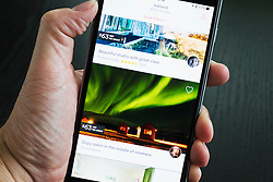 Airbnb holiday room booking app showing house in Iceland for rent on an iPhone 6 plus smart phone