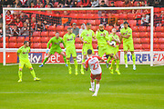 Barnsley Alex Mowatt (27) takes a shot from a free kick during the Pre-Season Friendly match between Barnsley and Sheffield United at Oakwell, Barnsley, England on 27 July 2019.