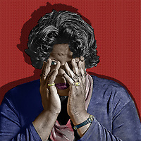 In this powerful image, we see an older black woman with her hands over her face. She is trying to cover them up, but we can see a single eye peering out at us from behind her weary hands. This is a powerful reminder of the way we close our eyes to racism. Some of us look with only one eye, hidden behind our trembling hands. This black and white with color piece reminds us that it is not simply enough to look with a partial gaze. We must stare back at racism with both eyes. .<br />