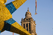 Metropolitan Cathedral Spire and Christmas Star Decoration, Zocalo, Mexico City, Mexico 2007