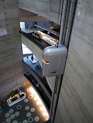 Atrium with elevators inside Mercedes Benz Museum in Stuttgart Germany