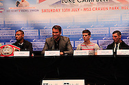 Picture by Richard Gould/Focus Images Ltd +44 7855 403186<br /> 22/06/2013<br /> (L2R) Kell Brooke, Eddie Hearn, Luke Campbell &amp; Tommy Coyle all listening to Eddie Hearn as he starts the press conference  pictured during a press conference at Hull City Hall.