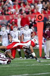 18 October 2008: Eyad Salem gets tripped up by Jeremy Dawson in a game which the Missouri State Bears came from behind to beat the Illinois State Redbirds 34-28 in front of 13,292 fans at Hancock Stadium on Illinois State Universities campus in Normal Illinois