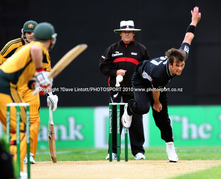NZ's Shane Bond bowls to Brad Haddin.<br /> Fifth Chappell-Hadlee Trophy one-day international cricket match - New Zealand v Australia at Westpac Stadium, Wellington. Saturday, 13 March 2010. Photo: Dave Lintott/PHOTOSPORT