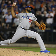Pitcher Kenley Jansen, Los Angeles Dodgers, pitching during the New York Mets Vs Los Angeles Dodgers, game four of the NL Division Series at Citi Field, Queens, New York. USA. 13th October 2015. Photo Tim Clayton