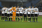 Fulham players observe a minutes silence for friends of Burnley FC lost in 2018 during the Premier League match between Burnley and Fulham at Turf Moor, Burnley, England on 12 January 2019.