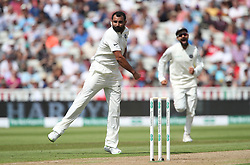 India bowler Mohammed Shami celebrates trapping England batsman Dawid Malan out LBW for 8 during day one of the Specsavers First Test match at Edgbaston, Birmingham.