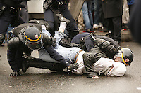 "Paris, France - Place de la Republique....March 28, 2006....Confrontations between vandals (""casseurs"") and the CRS police after a very large peaceful demonstration of students and union members, against the CPE, The Contract of First Employment....Photo by Owen Franken - Photograph by Owen Franken"