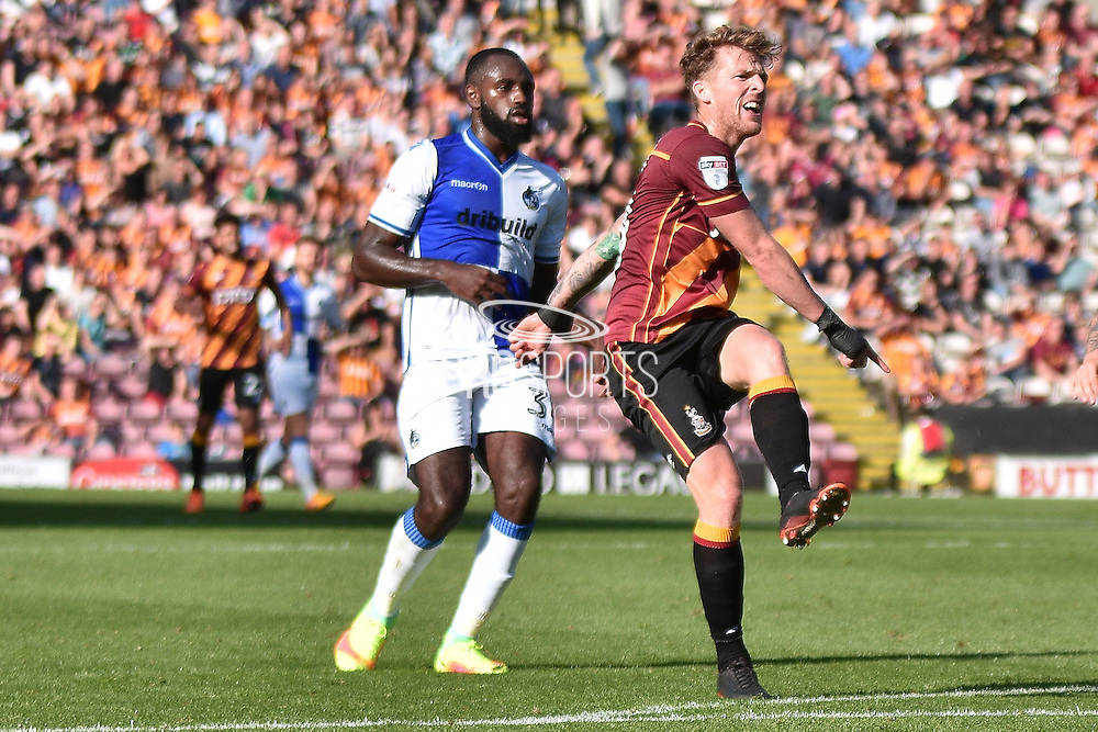 Bradford City Forward,  Billy Clarke  (10) shoots during the EFL Sky Bet League 1 match between Bradford City and Bristol Rovers at the Coral Windows Stadium, Bradford, England on 17 September 2016. Photo by Mark Pollitt.