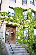 A townhouse in the Wrigleyville neighborhood of Chicago displays an Obama for President sign in the front window.