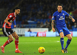 Lee Tomlin of Cardiff City and Kevin Bru of Ipswich Town compete for the ball - Mandatory by-line: Nizaam Jones/JMP - 31/10/2017 -  FOOTBALL - Cardiff City Stadium- Cardiff, Wales -  Cardiff City v Ipswich  Town- Sky Bet Championship