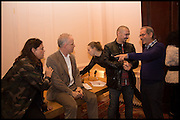 MAJA HOFFMANN; HANS OBRIST ULRICH; JAMES FRANCO Stanley Buchthal, James Franco talk and supper at Mansfield St. hosted by Maja Hoffmann. London. 23 November 2014
