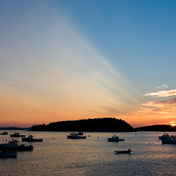 Sunrise in Bar Harbor near Maine's Acadia National Park.  Frenchman Bay.