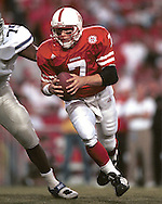 Nebraska quarterback Eric Crouch (7) rushes up field against Kansas State at Memorial Stadium in Lincoln, Nebraska in 1999.