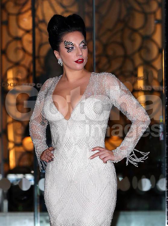 Singer Lady Gaga leaving The Langham Hotel in London, UK. 25/10/2014<br />BYLINE MUST READ : JAMESY/GOTCHA IMAGES<br /><br />Copyright by &copy; Gotcha Images Ltd. All rights reserved.<br />Usage of this image is conditional upon the acceptance <br />of Gotcha Images Ltd, terms and conditions available at<br />www.gotchaimages.com