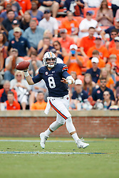 Auburn Tigers quarterback Jarrett Stidham (8) attempts a pass during an NCAA football game against the Mississippi Rebels, Saturday, October 7, 2017, in Auburn, AL. Auburn won 44-23. (Paul Abell via Abell Images for Chick-fil-A Peach Bowl)