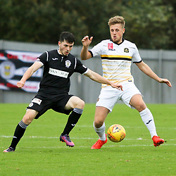 Chris McLaughlin gets to the ball first  during the Dumbarton v St Mirren Scottish Championship 14 October 2017<br /> <br /> <br /> <br /> <br /> <br /> (c) Andy Scott | SportPix.org.uk