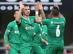Ludogorets' Jakub Swierczok celebrates his goal with Natanfael Batista Pimenta during the UEFA Champions League, first qualifying round, second leg match at Seaview, Belfast.