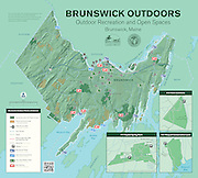 Vector map of outdoor recreation and conservation spaces in the town of Brunswick, Maine. The maps shows the locations of public conserved lands, private conserved lands, water/boat access points, athletic fields, and bird watching locations, and points of interest. The map is a joint venture of the Brunswick-Topsham Land Trust and the town of Brunswick.