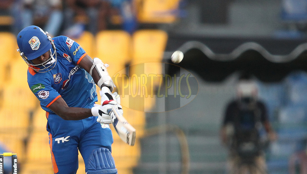Ajantha Mendis of Nagenahira Nagas hits over the top during match 19 of the Sri Lankan Premier League between Uthura Rudras and Nagenahiras held at the Premadasa Stadium in Colombo, Sri Lanka on the 26th August 2012. .Photo by Shaun Roy/SPORTZPICS/SLPL