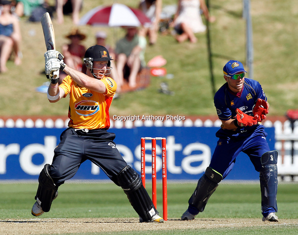 Firebirds' Stewart Rhodes during their win in the Twenty20 Cricket - HRV Cup, Firebirds v Volts at the Basin Reserve, Wellington, 04 December 2010. Photo: Anthony Phelps/PHOTOSPORT