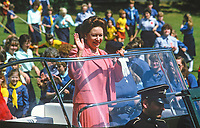HRH, Princess Margaret, on a two day Royal Visit to N Ireland, the guest of Guides and Brownies at Lorne, Craigavad, near Belfast, gets an open-top tour of the 21 acre estate which offers a wide range of training and recreational facilities for the movement. 19840075PM2<br />