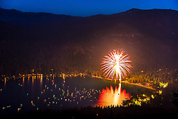 """Fireworks at Donner Lake 2"" - Photograph of the 2016 July 4th fireworks display at Donner Lake in Truckee, California."