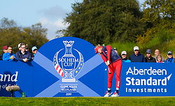 Solheim Cup 2019 at Centenary Course at Gleneagles in Scotland, UK. Jessica Korda of USA tees off on 7th hole during Friday morning Foursomes.