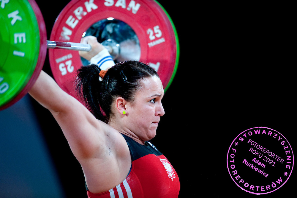 Ewa Mizdal from Poland competes during Women's Weightlifting Polish Cup 2014 in Jozefow near Warsaw on March 30, 2014.<br /> <br /> Poland, Jozefow, March 30, 2014<br /> <br /> Picture also available in RAW (NEF) or TIFF format on special request.<br /> <br /> For editorial use only. Any commercial or promotional use requires permission.<br /> <br /> Mandatory credit:<br /> Photo by &copy; Adam Nurkiewicz / Mediasport