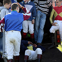 Jockey's taking a break at the annual Lisdoonvarna races at the weekend.<br /> Photograph by Yvonne Vaughan