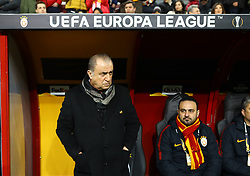 February 14, 2019 - Istanbul, Turkey - Galatasaray's trainer Fatih Terim (L) and assistan coach Hasan Sas during the UEFA Europa League round of 32 first leg football match between Galatasaray AS and SL Benfica at the Turk Telekom stadium, in Istanbul, on February 14, 2019. (Credit Image: © Mahmut Burak Burkuk/Depo Photos via ZUMA Wire)