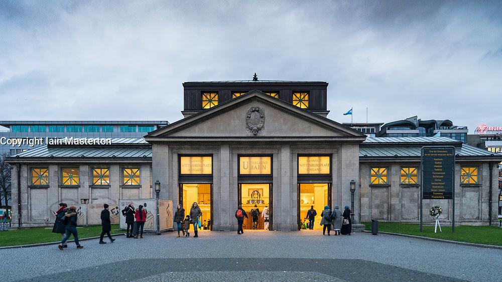 Exterior view of historic old Wittenbergplatz underground railway station in Berlin, Germany