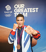 """Olympic Games London 2012 <br /> Boxing Medalists' Press Conference at Team GB House, Stratford, London, Great Britain <br /> 13th August 2012 <br /> <br /> """"Britain's boxers finished top of the pile with five medals, three of them Gold plus a Silver and  Bronze"""".<br /> <br /> <br /> Anthony Ogogo <br /> Middleweight<br /> Bronze medal <br /> <br /> Photograph by Elliott Franks"""